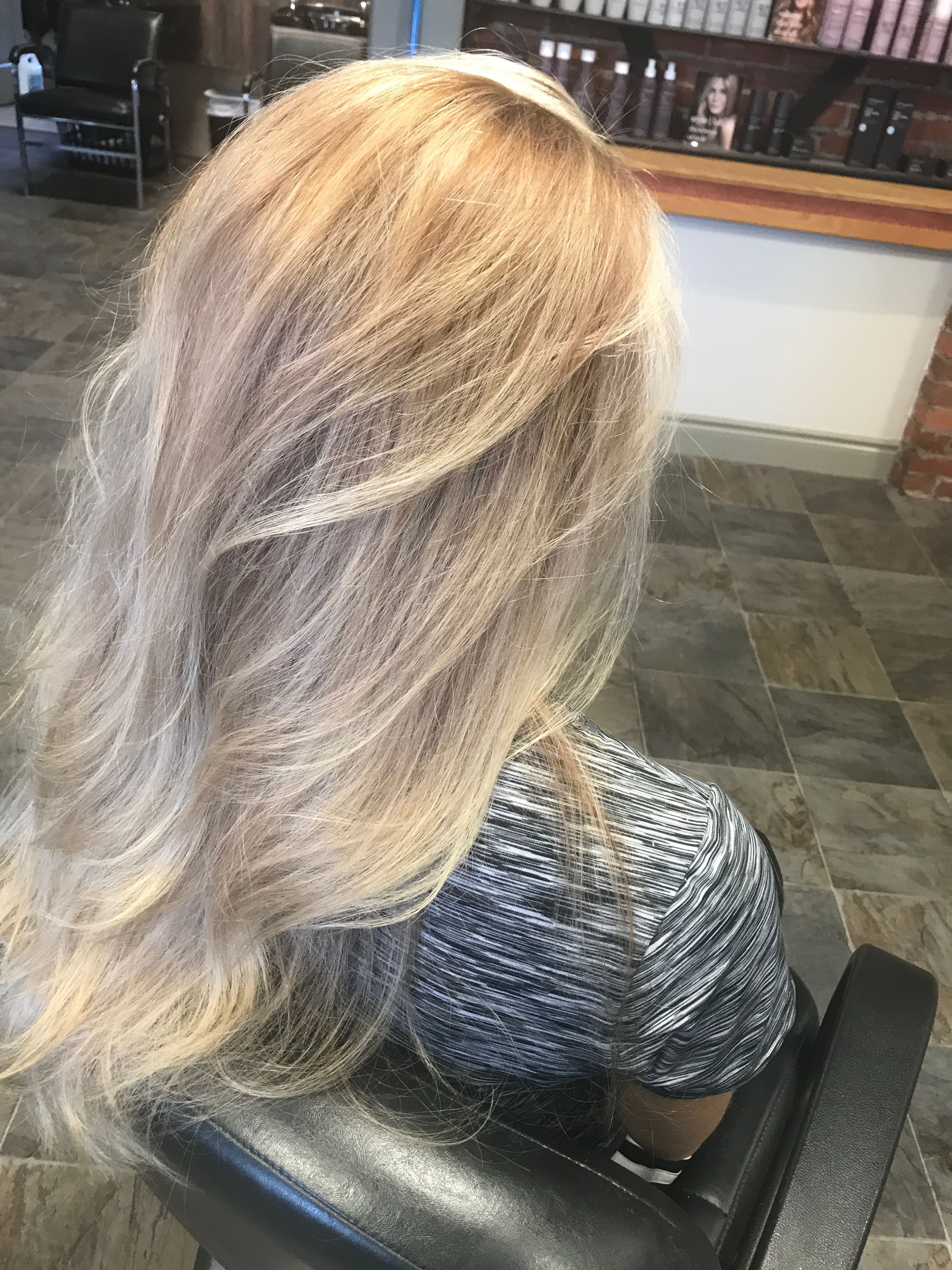 Ombre Frosted Blonde Hair And Nails Long Hair Styles
