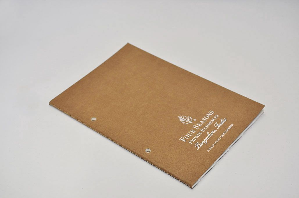 Four Seasons custom edition - White screen print on the Slim Series A5 Kraft cover notebook