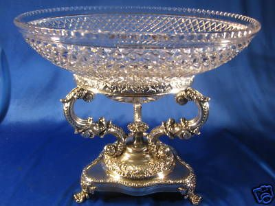 Sheffield ~ SILVER PEDESTAL CUT CRYSTAL BOWL ~ Georgian