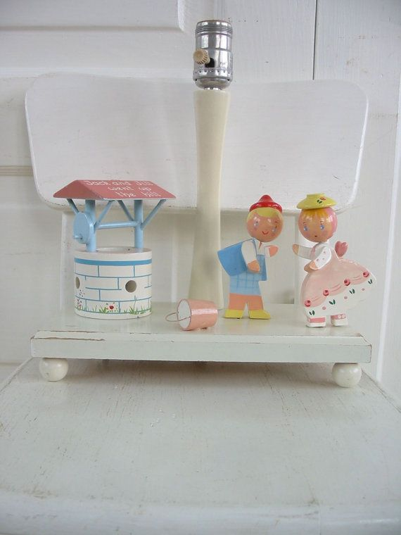 Vintage Child Nursery Lamp Baby Irmis Wood Girl Pink Lighting Jack And Jill  Night Light