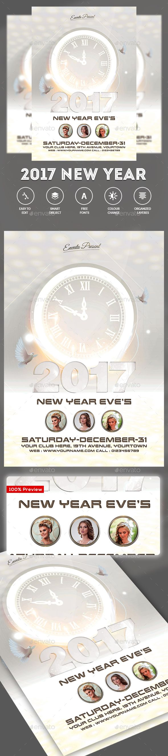 New Years Eve Flyer Template PSD. Download here: https ...