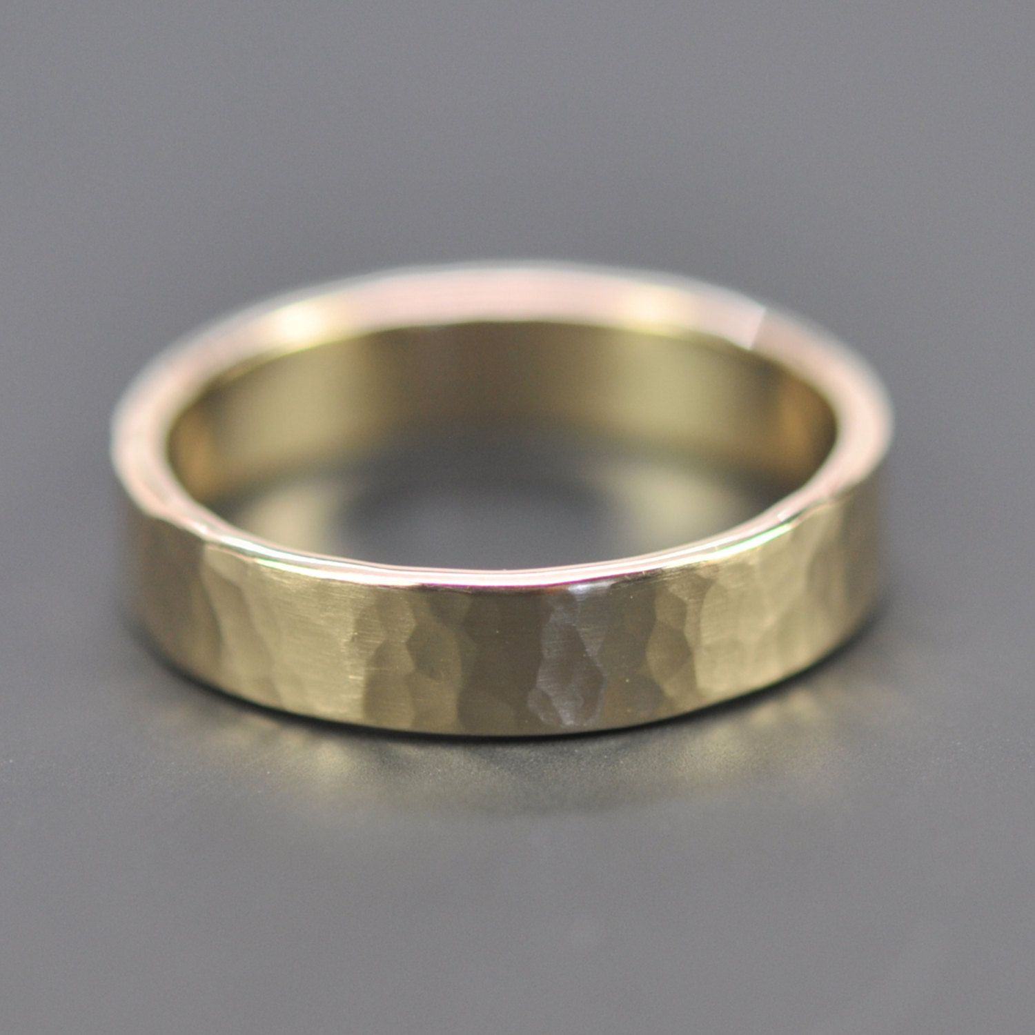 Mens 14K Yellow Gold Wedding Band, 5mm Hammered Gold Ring, Matte Finish, Sea
