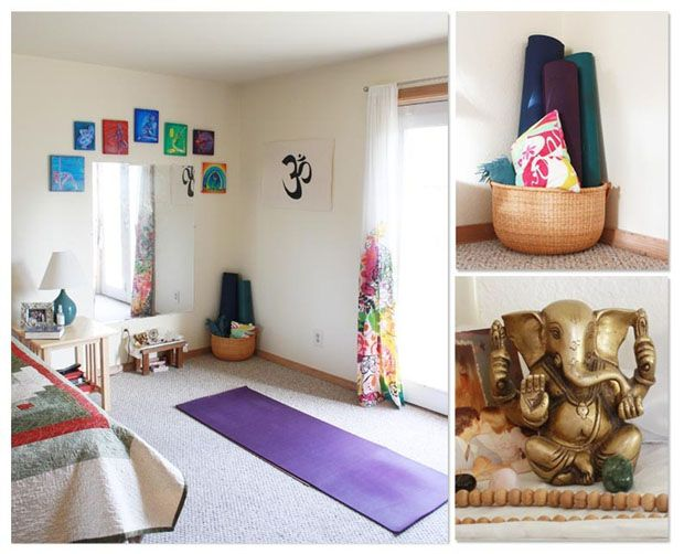 Home Yoga Room Design find this pin and more on yoga spaces places 4 Helpful Ways To Get Out Of Bed For Yoga And My At Home Yoga Space Set Up A Yoga Space Rework Your Day Before Have A Plan Create A Ritual Of