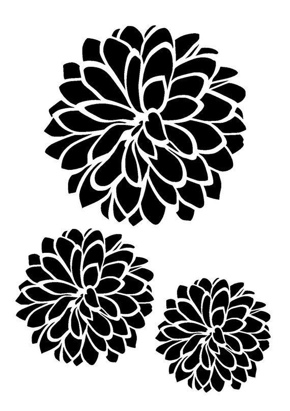 11 7 16 5 Dhalia Flower Stencil 3 Flowers A3 Flower Stencil Stencil Crafts Stencils
