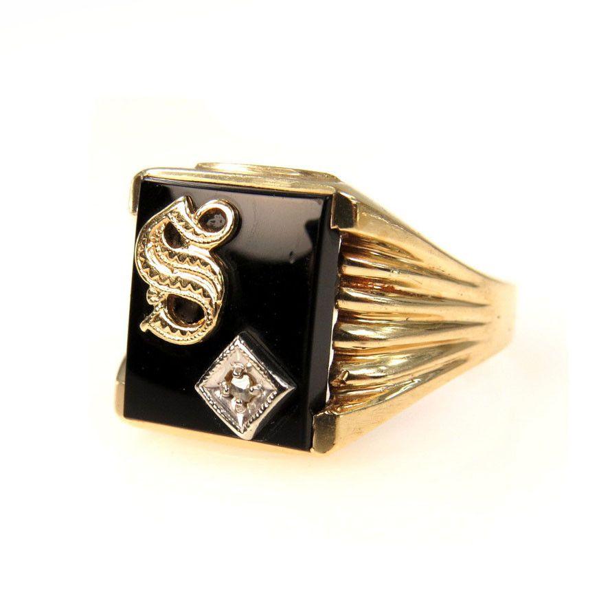 estate 10k gold black onyx diamond ring initial s