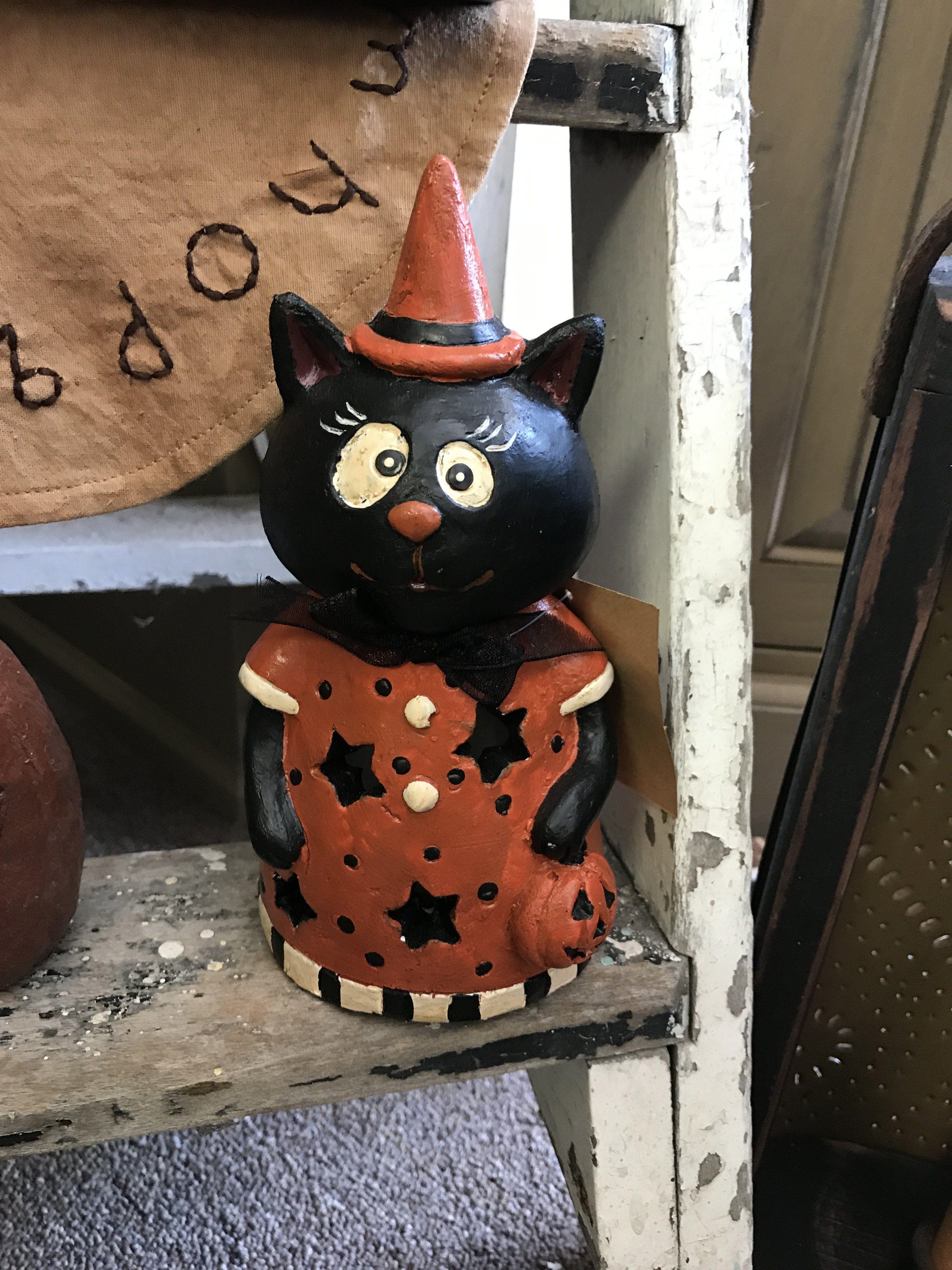 "7"" Paper Pulp Halloween Kitty W LED Light"