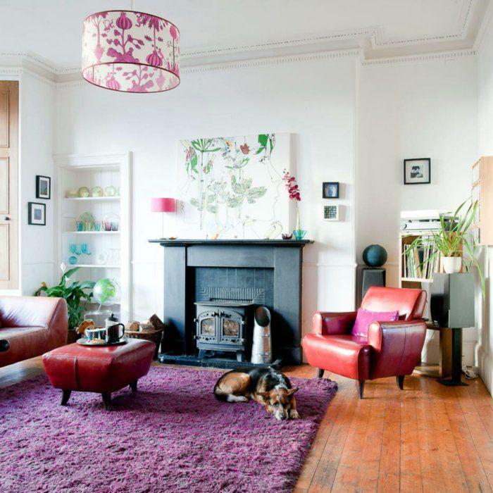 Teppich Kaufen Wohnideen Wohnzimmer Lila Kamin Pflanzen