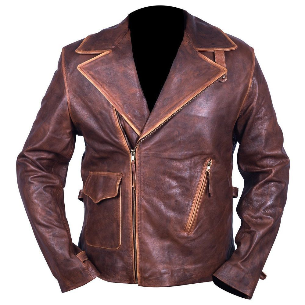 Captain America The First Avengers Distressed Brown Biker Real Leather Jacket