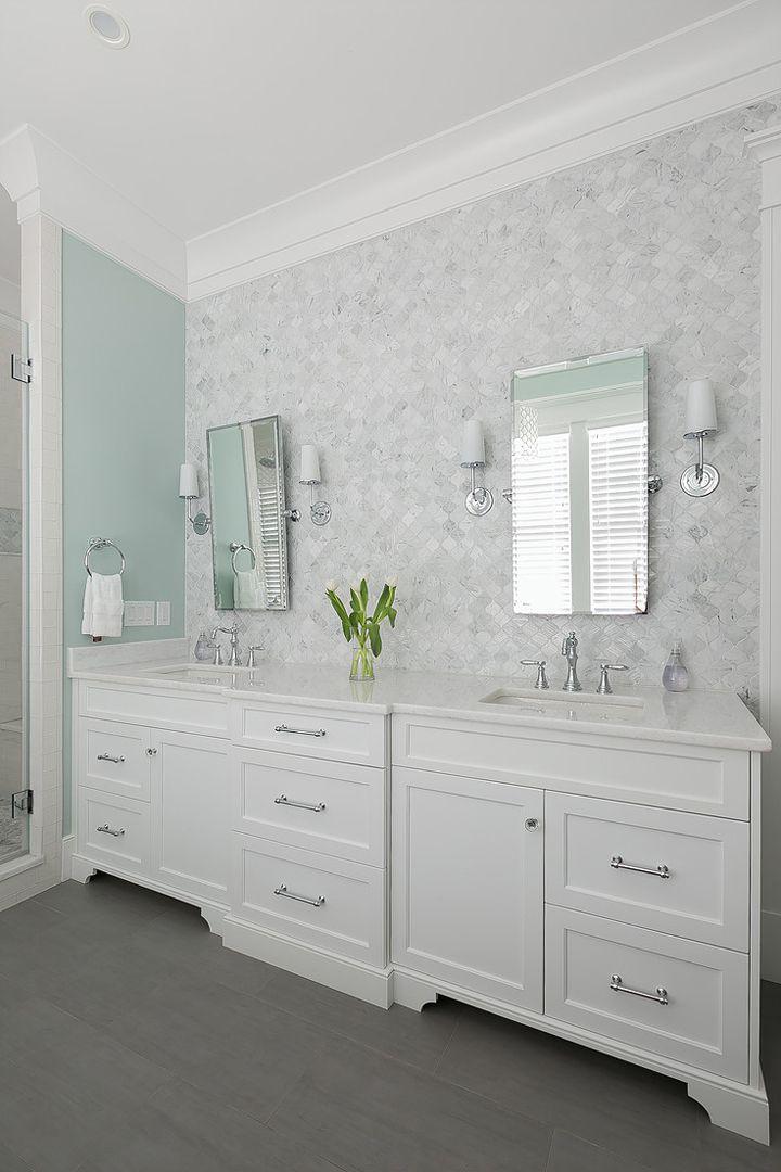 Custom Bathroom Vanities Milwaukee master bathroom with tile accent wall | mahshie custom homes