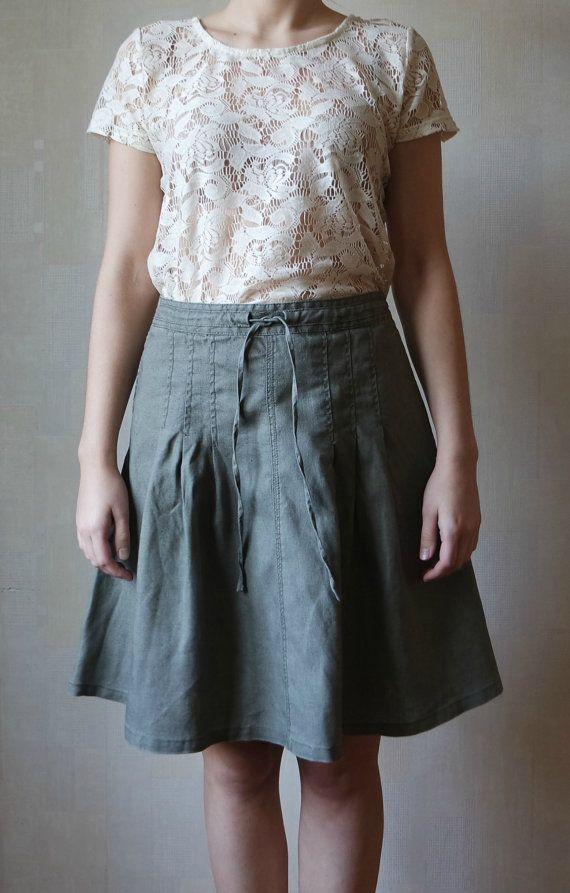 Vintage Women's   Linen Skirt, Olive Green Linen Skirt, Knee Lenght Skirt ,Size 38 EU