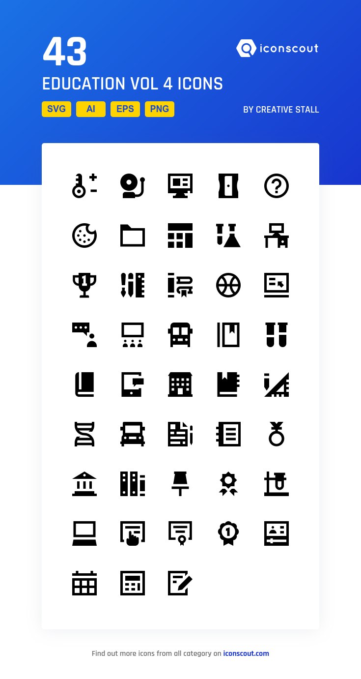 Education Vol 4  Icon Pack - 43 Solid Icons