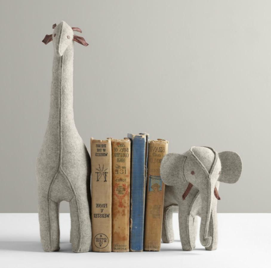 Wool Felt Animal Bookends  Elephant and Giraffe  | Felt