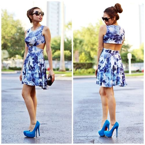 A fun and sexy summer look! visit her blog at www.eteclea.com to know where to shop this cut out dress