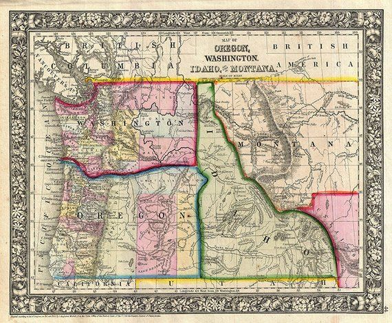 Idaho map (1866), scanned version of an old original map of the ...
