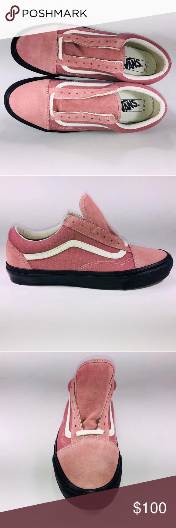 VANS OG Old Skool LX Suede Ash Rose & Black Shoes New With
