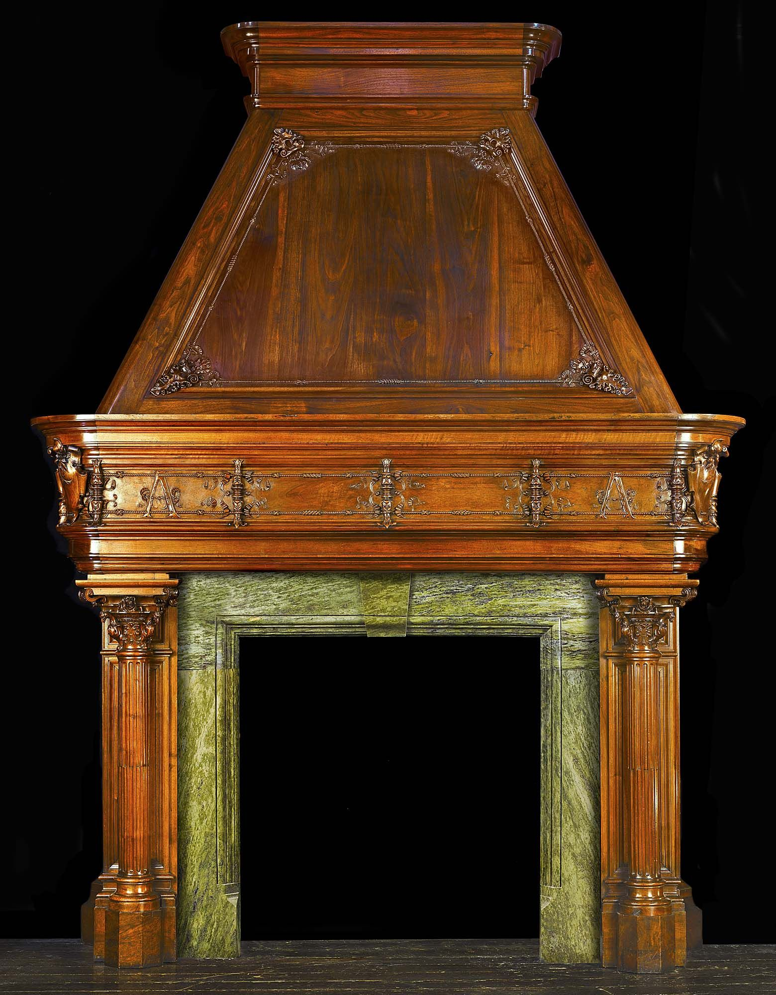 Antique Medieval French Walnut Fireplace Mantel