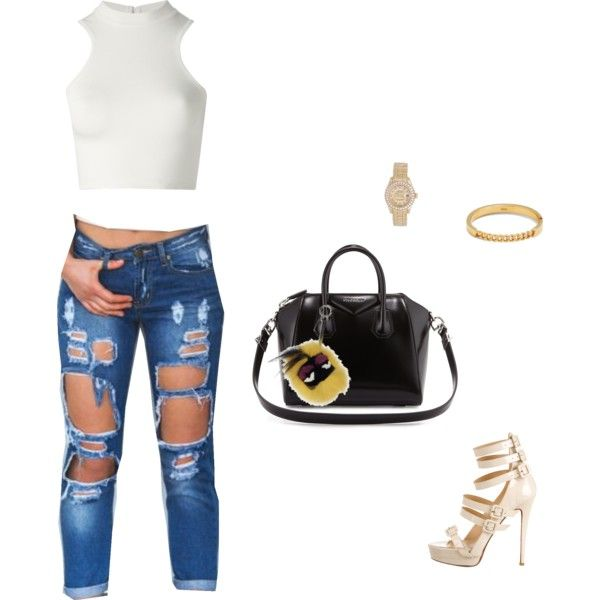 inspired by kylie jenner by lovekyrastrickland on Polyvore featuring polyvore fashion style Versace Christian Louboutin Givenchy Rolex Chloé Fendi