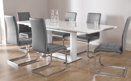 tokyo white high gloss extending dining table and 6 chairs set perth grey - White Gloss Kitchen Table
