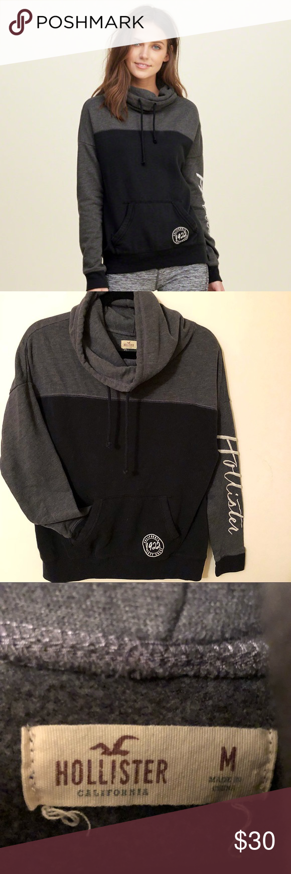 62f14b7be274 Hollister Co cowl neck hoodie Hollister Co cowl neck hoodie! Black ...