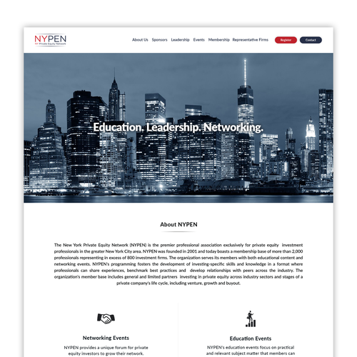 Design A New Website For Nypen Nypen Offers Education And Networking Events For Investors In The Nyc Area The Organization Contest Design Page Design Design
