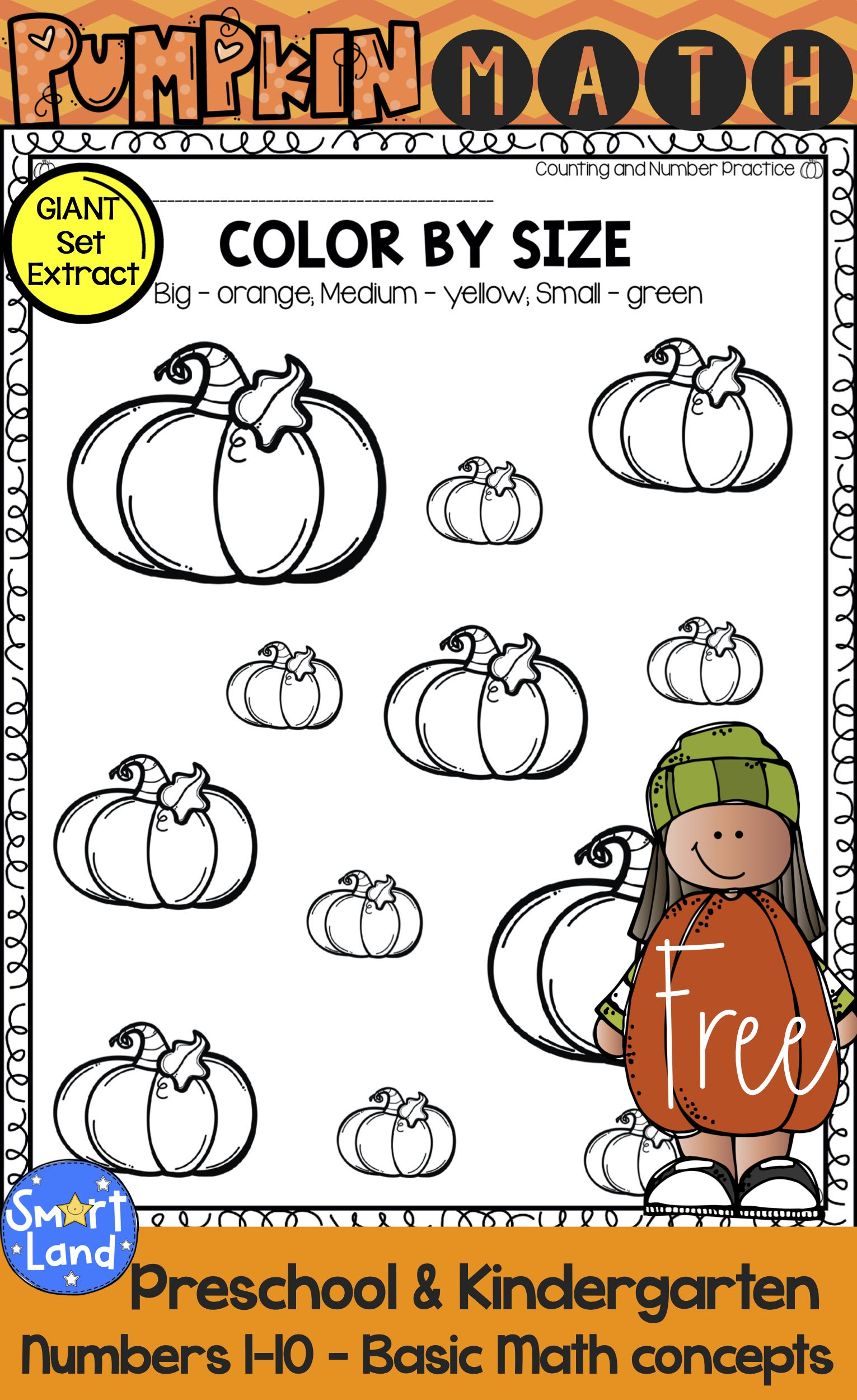 Free Math practice worksheets. Numbers 1-10. Perfect for Fall and Pumpkin the…