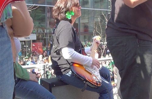 Sharon Hyland rocking out during the St Patrick's Day parade