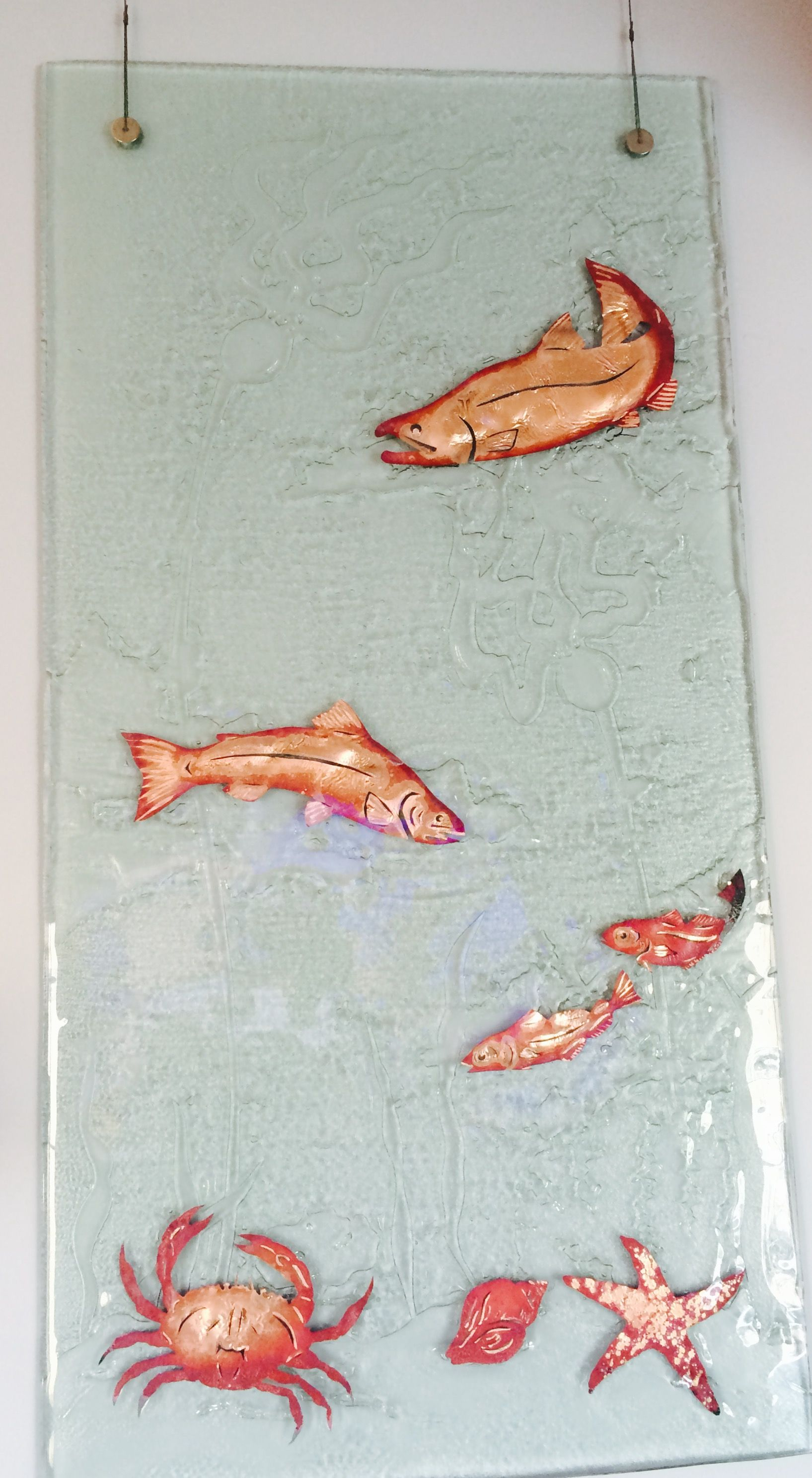 Beachy Glass  Art Panel by Jones Glass Works, Washington State.