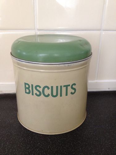 Vintage Worcester Ware Biscuits Storage Tin Green And Cream
