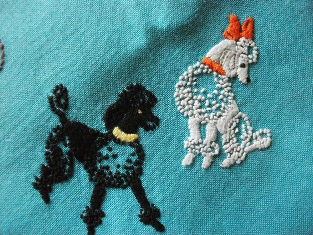 Vintage Hand Embroidered Cotton Mix Tablecloth - POODLE DOGS