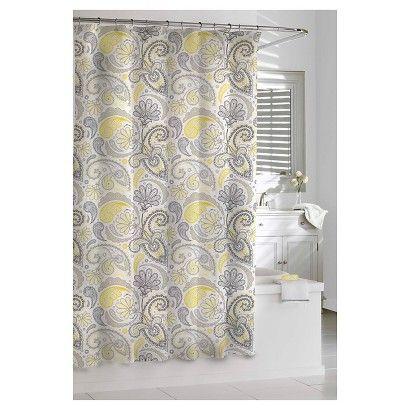 Kassatex Paisley Shower Curtain Yellow Grey Gray Shower