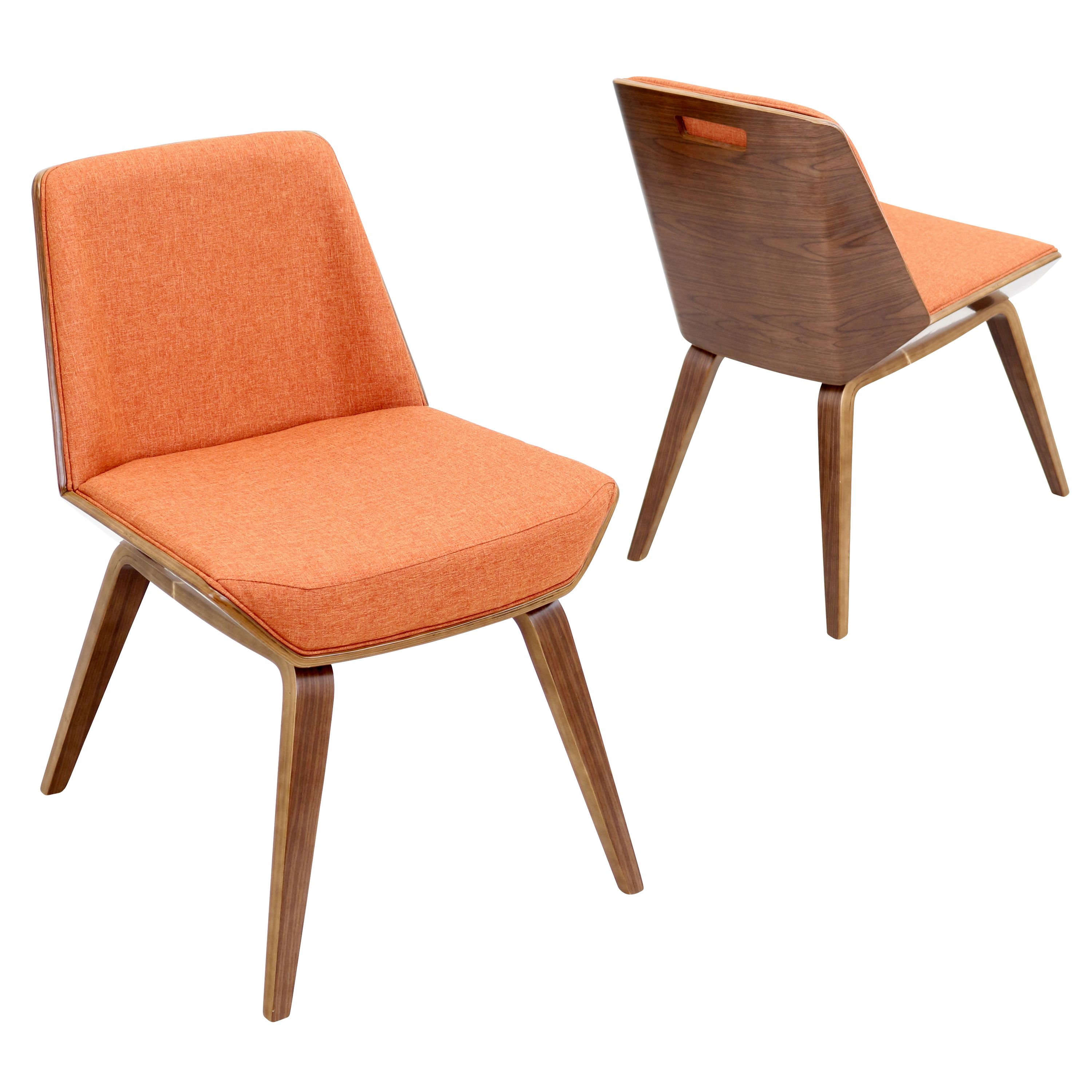 Lumisource Corazza Accent - Dining Chair, Walnut And Orange | Products