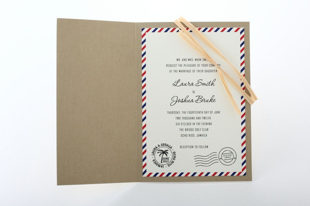 Destination wedding invitation air mail toh planning committee precious wedding invitations specializes in quality bridal wedding invitations and stationery handmade pocket fold and do it yourself kits solutioingenieria Gallery