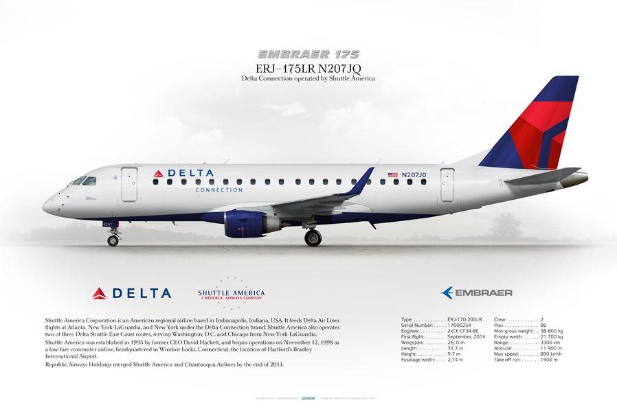 Embraer ERJ-175 Delta Connection N207JQ | www aviaposter com