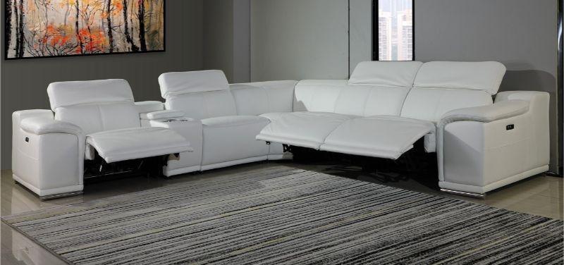 Gu Di9762wh 6pc 6 Pc Orren Ellis Florence White Italian Leather Power Reclining Sectional Sofa Adjustable Headrests Sectional Sofa Leather Reclining Sectional Sofa Reclining Sectional
