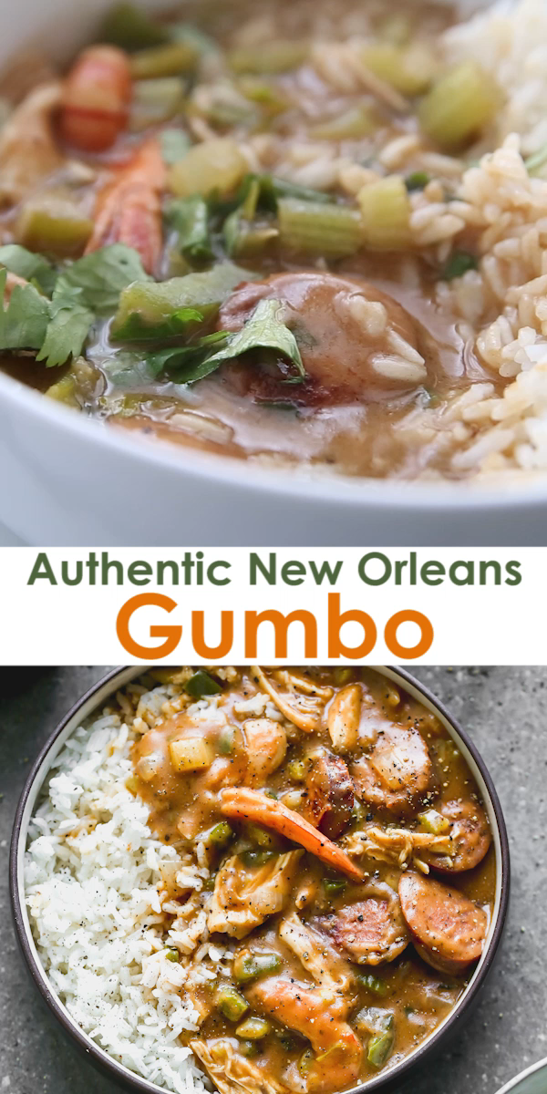This Authentic New Orleans Gumbo is made with a dark roux, vegetables, chicken, sausage, and shrimp, and served over rice. This is a beloved recipe shared with me by a native New Orleanian.