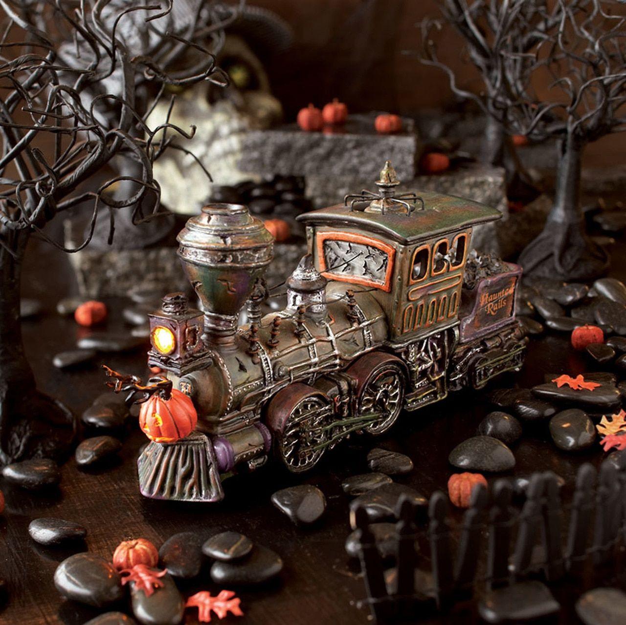 Department 56 halloween village haunted rails engine