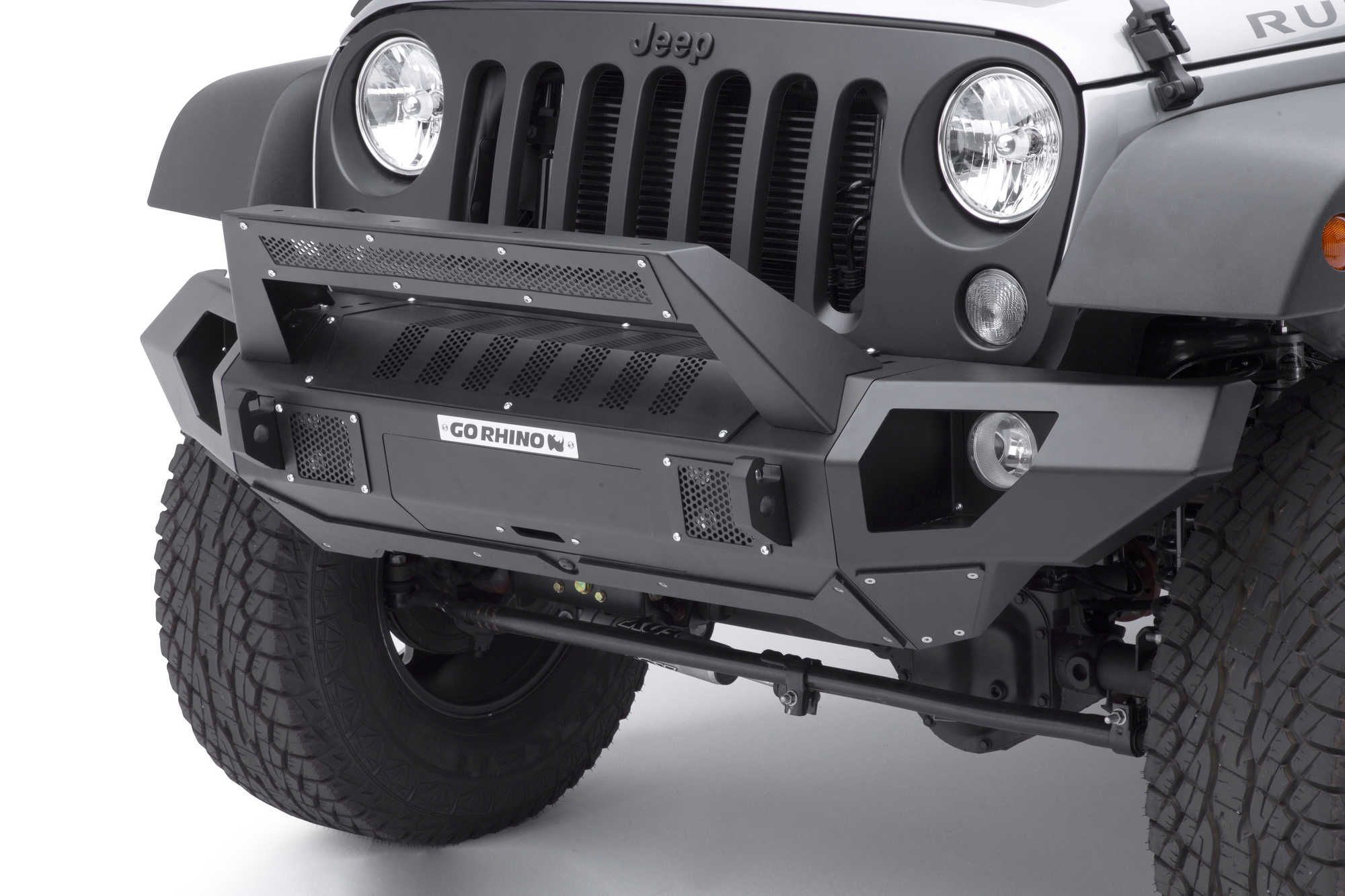 Go Rhino Front Bumper With Straight End Caps And Roadline Light