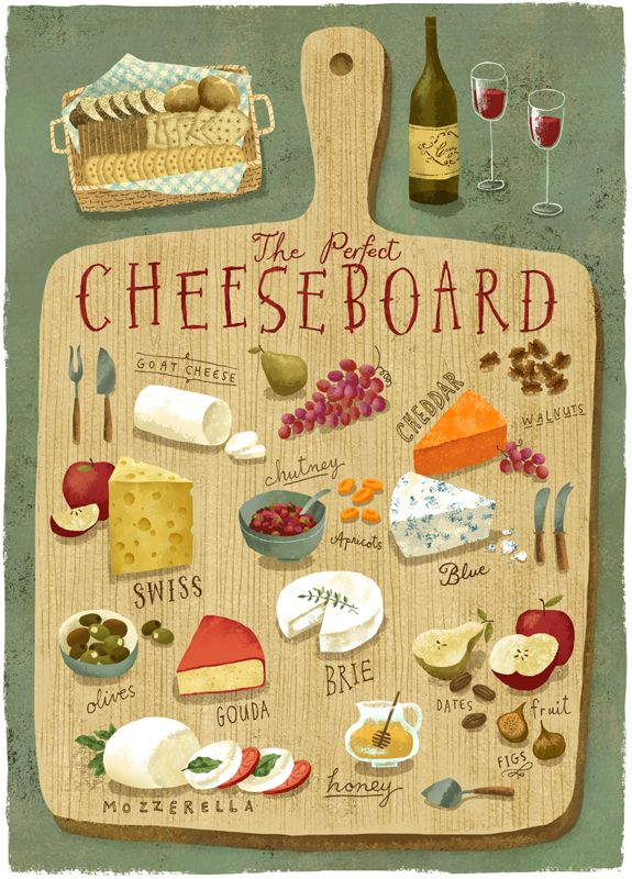 #RichardFaust #cheeseboard #wineandcheese #food #illustration #vector…