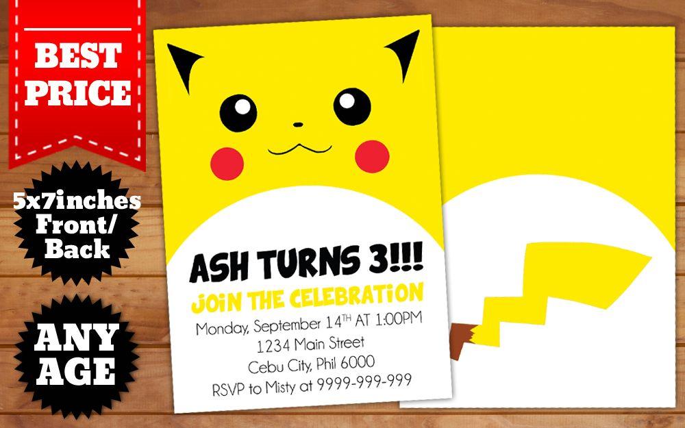 Download Pikachu Pokemon Birthday Invitation Template Birthday Invitation Templates Pokemon Birthday Birthday Invitations