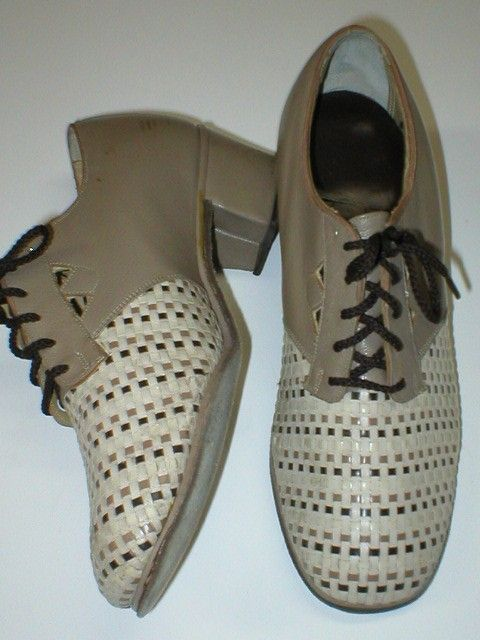 Vintage 1940s basket weave oxford heeled lace up leather shoes size 7