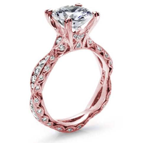 Tacori 2578RD7.5ROSE 18kt Rose Gold Criss Cross Eternity Engagement Ring  .85tw (mounting