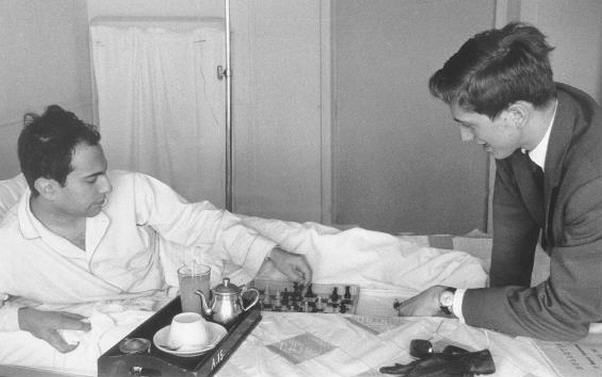 291f6b7aa Bobby Fischer visits Mikhail Tal in hospital, Curaco, 1962. | Bobby ...