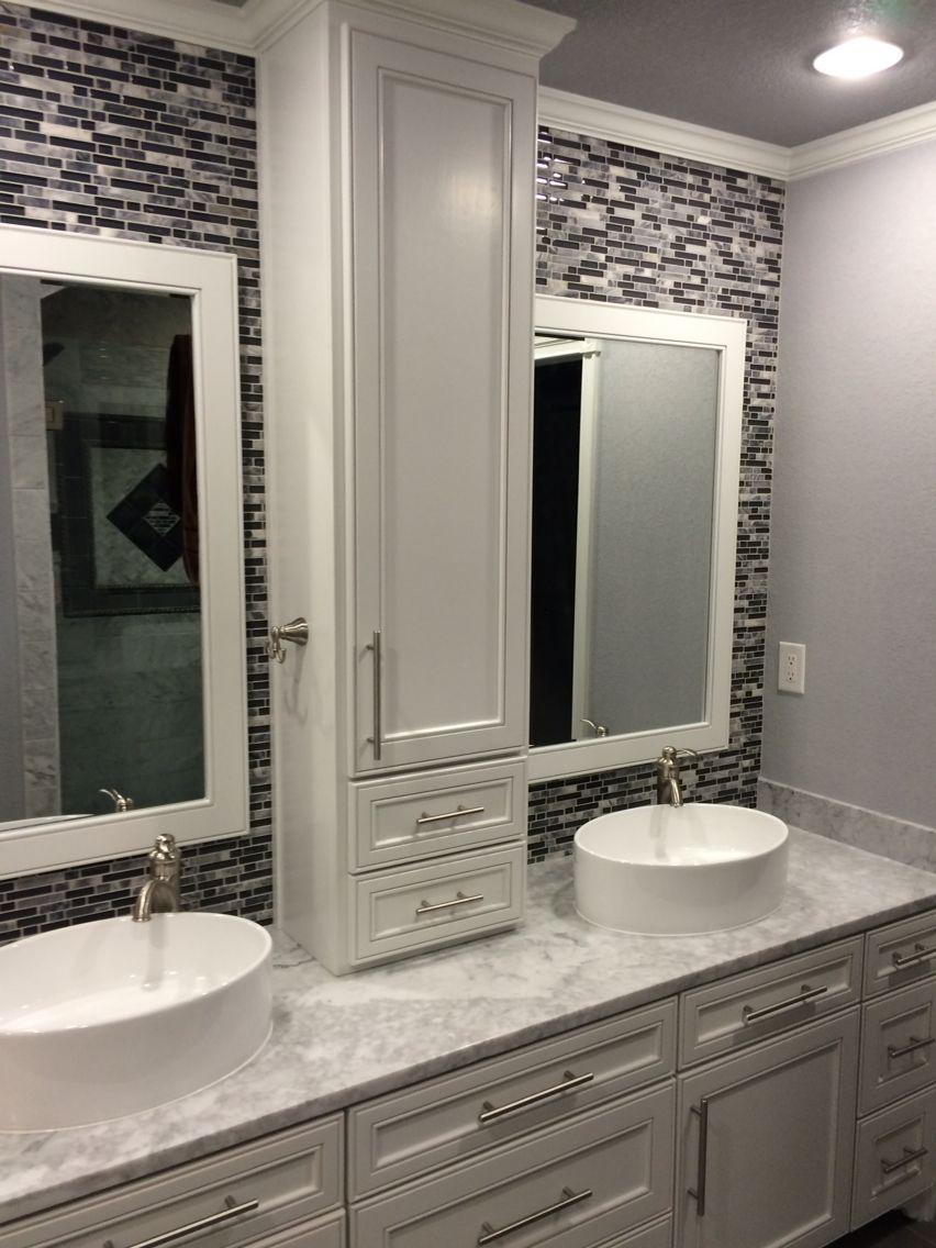 Master Bathroom Double Sinks Gray Marble Counter Custom