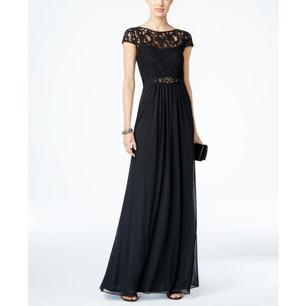 Adrianna Papell Lace Illusion Gown ($179) ❤ liked on Polyvore ...