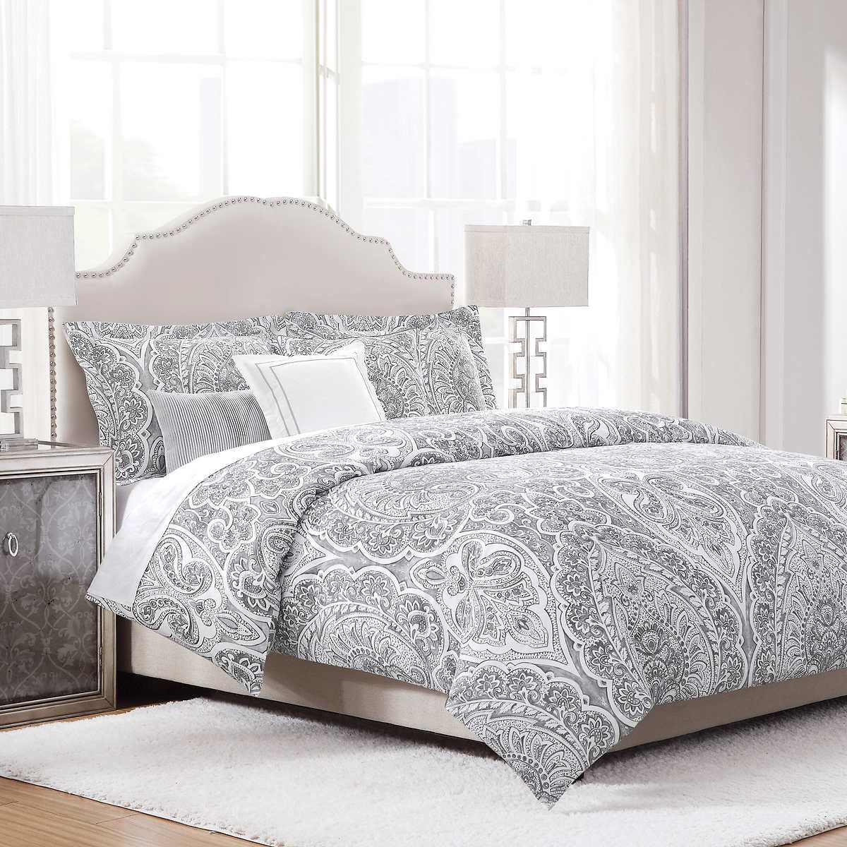 Costco King Sized Gray Comforter Set Grey Comforter Grey