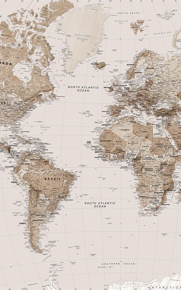 Earth Tone World Map Wallpaper Mural