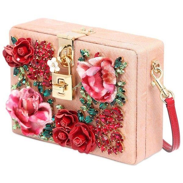 DOLCE & GABBANA Miss Dolce Hand-Embellished Jacquard Bag (£2,800) ❤ liked on Polyvore featuring bags, handbags, purses, flower print handbags, floral handbag, decorating bags, jacquard handbags and dolce gabbana bag