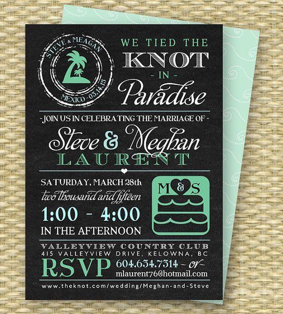 Chalkboard Destination Wedding Invitation, Post