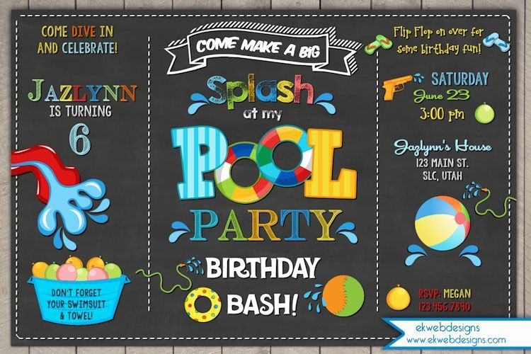 Pool Party Birthday Invitation  Chalkboard Background  Summer