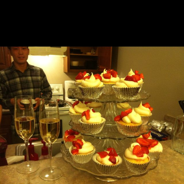 Strawberry Shortcake Cupcakes: Make Vanilla Cupcakes, Poke
